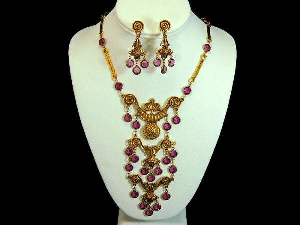 Haute Couture Egyptian Style Jewelry Set Purple Vintage - Premier Estate Gallery  - 2