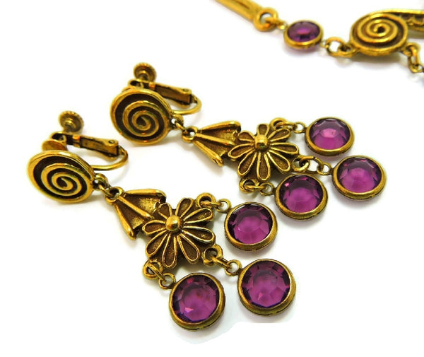 Haute Couture Egyptian Style Jewelry Set Purple Vintage - Premier Estate Gallery  - 6