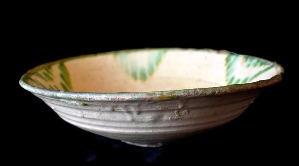 17th Century Earthenware Bowl Large Green Splash Decorated - Premier Estate Gallery