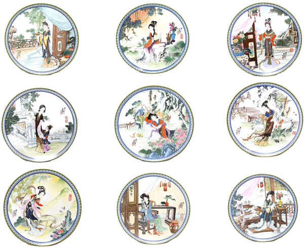 Imperial Jingdezhen Porcelain Geisha Plates Red Mansion Goddesses - Premier Estate Gallery 1