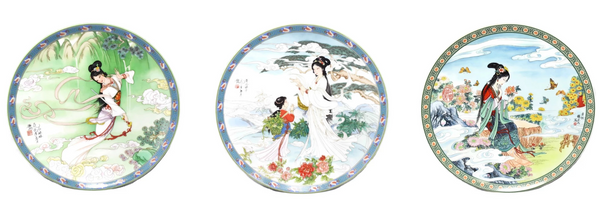 Imperial Jingdezhen Porcelain Geisha Plates Red Mansion Goddesses - Premier Estate Gallery 2