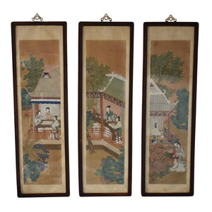 "Antique Chinese Vertical Watercolor Panels Courtesan Ladies Pagodas Rosewood Frames 54"" - Premier Estate Gallery"