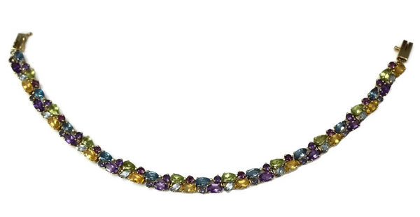 14k Multi Gemstone Tennis Bracelet 9.7 ctw - Premier Estate Gallery