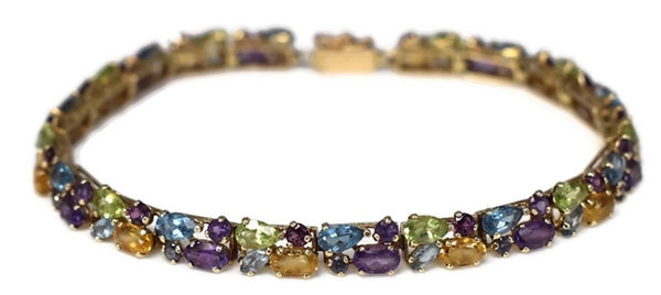 14k Multi Gemstone Tennis Bracelet 9.7 ctw - Premier Estate Gallery 2