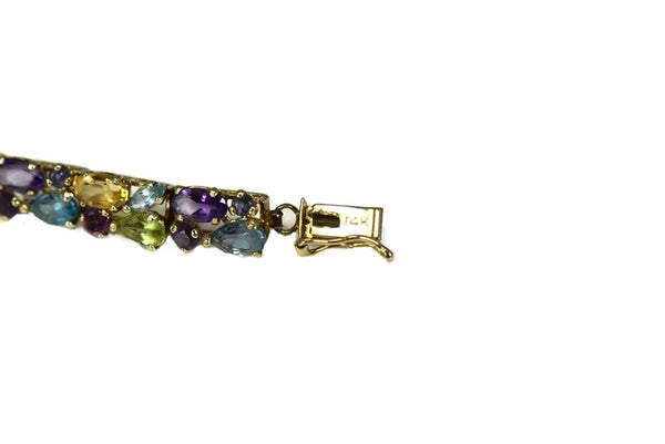 14k Multi Gemstone Tennis Bracelet 9.7 ctw