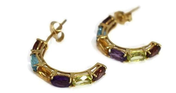 14k Multi Gemstone Demi Hoop Earrings - Premier Estate Gallery 3