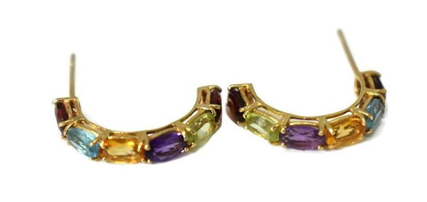 14k Multi Gemstone Demi Hoop Earrings - Premier Estate Gallery 2