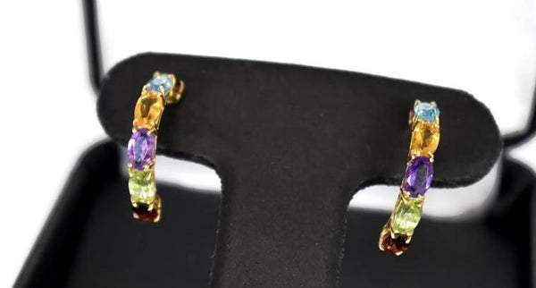 14k Multi Gemstone Demi Hoop Earrings - Premier Estate Gallery 1
