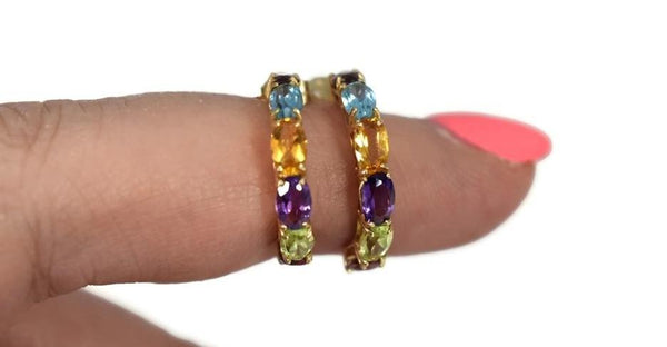 14k Multi Gemstone Demi Hoop Earrings - Premier Estate Gallery 4
