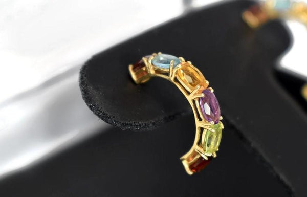 14k Multi Gemstone Demi Hoop Earrings - Premier Estate Gallery 5