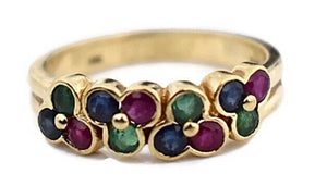 14k Gemstone Band Ruby Emerald Sapphire - Premier Estate Gallery