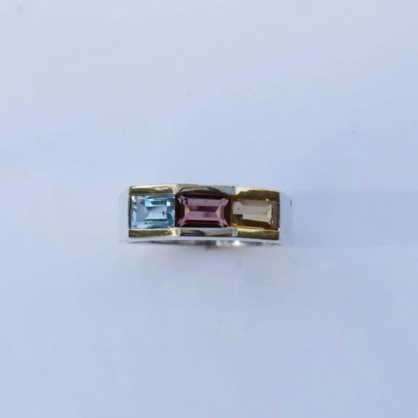 Estate Silver Gold Multi Gemstone Ring Blue Topaz Citrine Garnet - Premier Estate Gallery 4