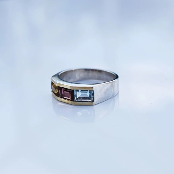 Estate Silver Gold Multi Gemstone Ring Blue Topaz Citrine Garnet