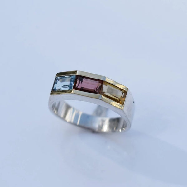 Estate Silver Gold Multi Gemstone Ring Blue Topaz Citrine Garnet - Premier Estate Gallery 3