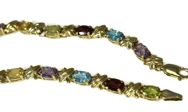 Estate 14k Gemstone Tennis Bracelet 4.64 ctw Rainbow Color Gems - Premier Estate Gallery 3