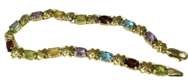 Estate 14k Gemstone Tennis Bracelet 4.64 ctw Rainbow Color Gems - Premier Estate Gallery 2