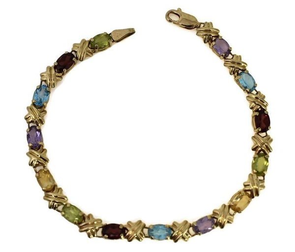 Estate 14k Gemstone Tennis Bracelet 4.64 ctw Rainbow Color Gems - Premier Estate Gallery