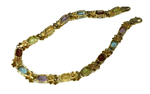Estate 14k Gemstone Tennis Bracelet 4.64 ctw Rainbow Color Gems