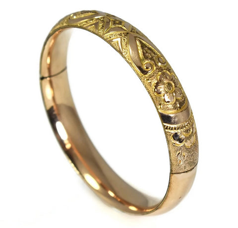 Antique Victorian Style Gold Filled Etched Bangle Bracelet c1900 - Premier Estate Gallery