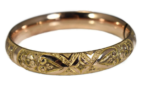 Antique Victorian Style Gold Filled Etched Bangle Bracelet c1900 - Premier Estate Gallery  2
