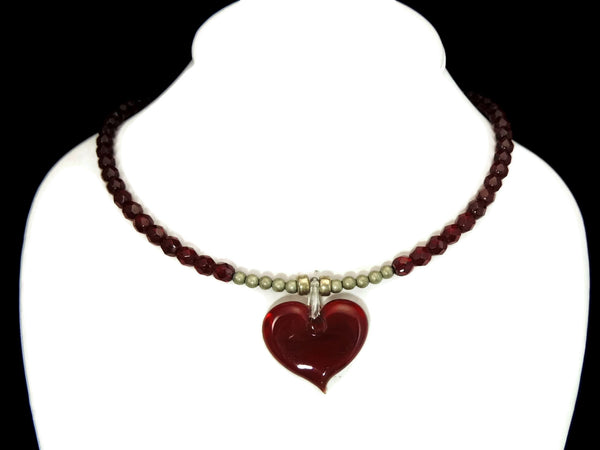 Ruby Red Crystal Heart Art Glass Necklace - Premier Estate Gallery  - 2