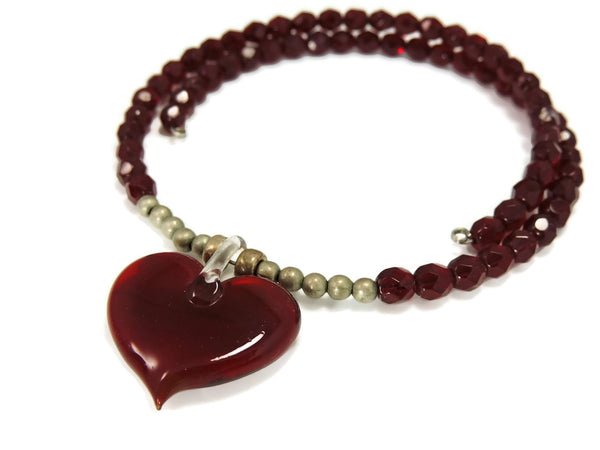 Ruby Red Crystal Heart Art Glass Necklace