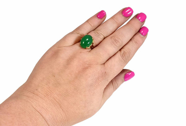 Estate 14k Jade Ring Apple Green 4.5 Carats