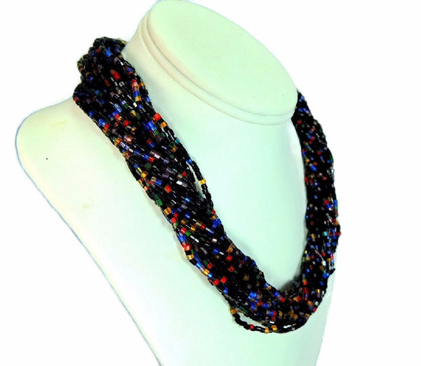 Glass Bead Torsade Necklace Vintage Multi Strand Flower Clasp - Premier Estate Gallery  - 1