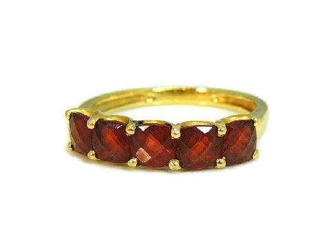 14k Garnet 5 Stone Ring Yellow Gold Garnet Band Vintage - Premier Estate Gallery  - 1