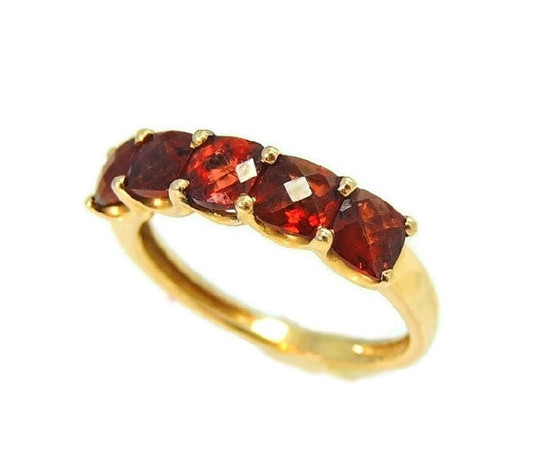 14k Garnet 5 Stone Ring Yellow Gold Garnet Band Vintage - Premier Estate Gallery  - 2