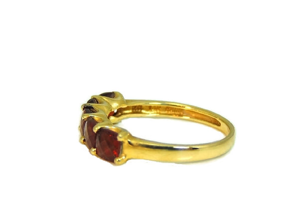 14k Garnet 5 Stone Ring Yellow Gold Garnet Band Vintage - Premier Estate Gallery  - 3
