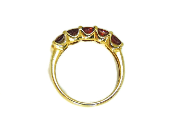 14k Garnet 5 Stone Ring Yellow Gold Garnet Band Vintage - Premier Estate Gallery  - 5