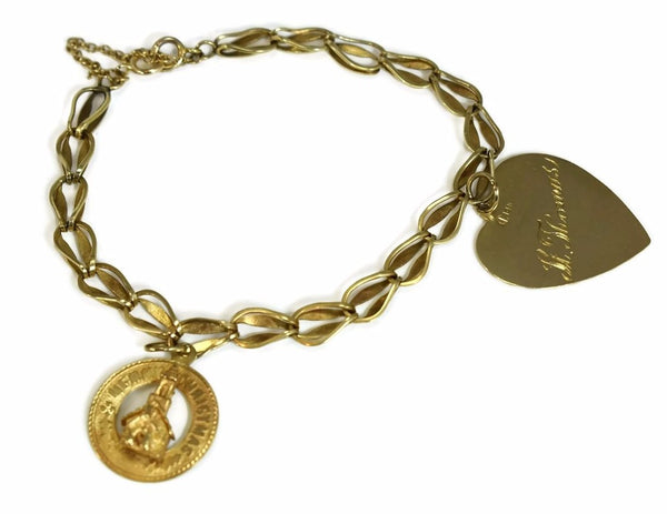 14k Gold Vintage Charm Bracelet with Heart and Christmas Charms - Premier Estate Gallery 2