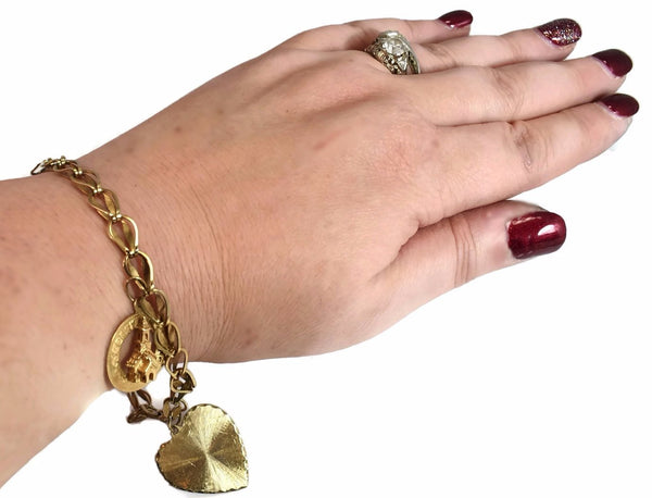 14k Gold Vintage Charm Bracelet with Heart and Christmas Charms
