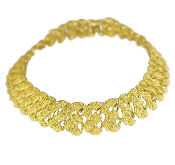 "1960s Glamourous Gold Plated Wide Fancy Link Necklace 18"" - Premier Estate Gallery"