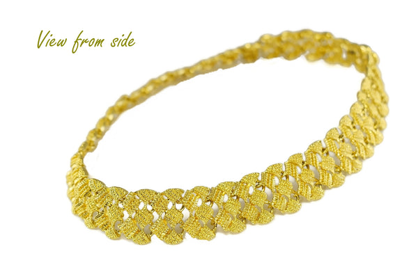 "1960s Glamourous Gold Plated Wide Fancy Link Necklace 18"" - Premier Estate Gallery 1"