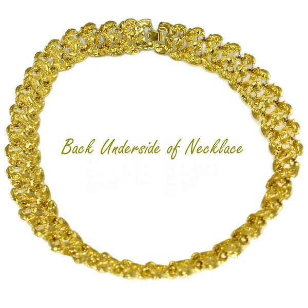 1960s Glamourous Gold Plated Wide Fancy Link Necklace 18""