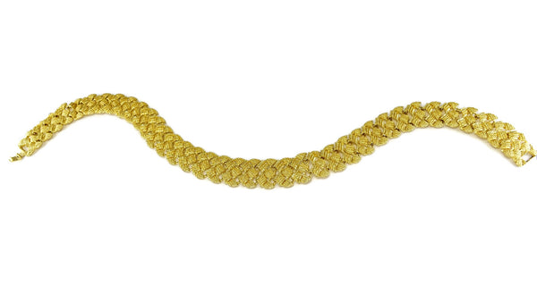 "1960s Glamourous Gold Plated Wide Fancy Link Necklace 18"" - Premier Estate Gallery 3"