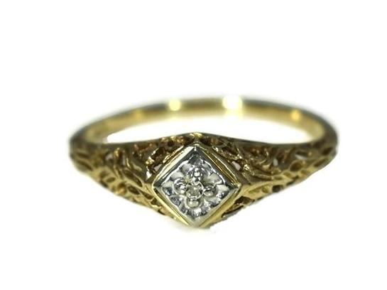 Art Deco 10k Diamond Accent Ring Filigree Setting -Premier Estate Gallery