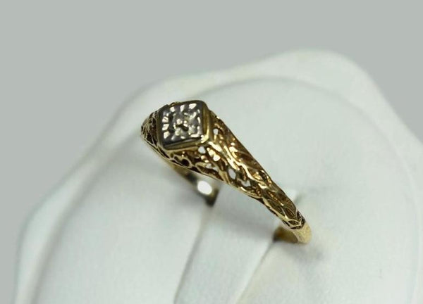 Art Deco 10k Diamond Accent Ring Filigree Setting -Premier Estate Gallery 2