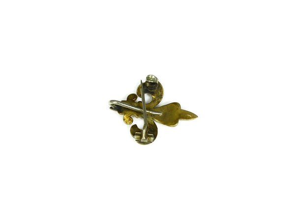 Victorian 10k Gold Fleur De Lis Pocket Watch Pin
