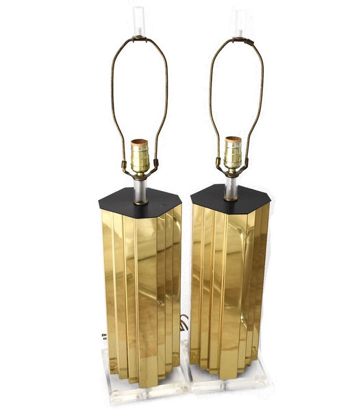 Mirrored Gold and Lucite Table Lamps Pair High Style - Premier Estate Gallery 1