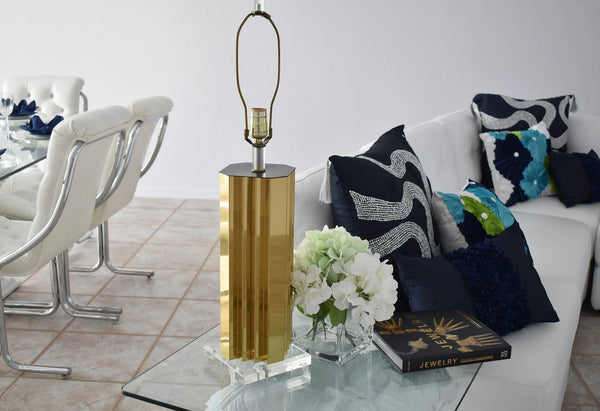 Mirrored Gold and Lucite Table Lamps Pair High Style - Premier Estate Gallery 2