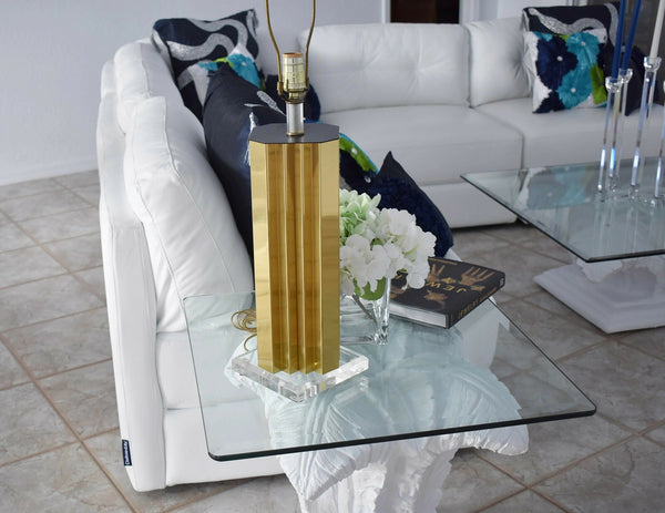 Mirrored Gold and Lucite Table Lamps Pair High Style - Premier Estate Gallery 3