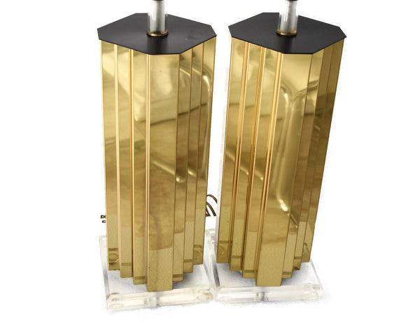 Mirrored Gold and Lucite Table Lamps Pair High Style - Premier Estate Gallery 4