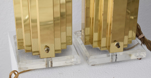 1980s Mirrored Gold and Lucite Table Lamps Pair High Style