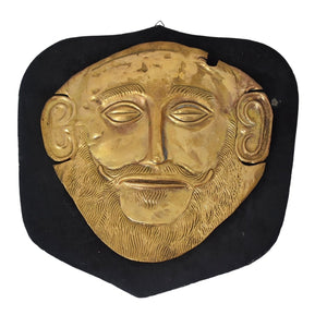 c1900 Gold Plated Mycenaean Death Mask of Agamemnon Ancient Greek Reproduction - Premier Estate Gallery