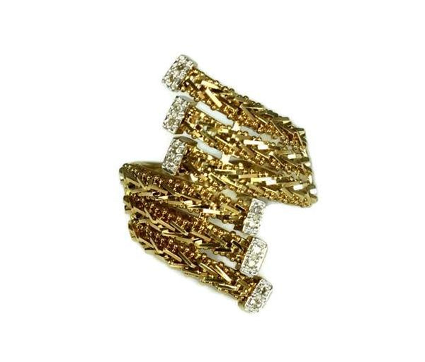Vintage 14k Diamond Riccio Ring Heavy Gold Setting - Premier Estate Gallery