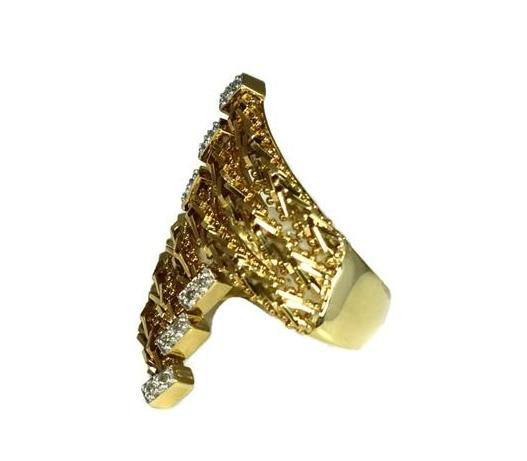Vintage 14k Diamond Riccio Ring Heavy Gold Setting