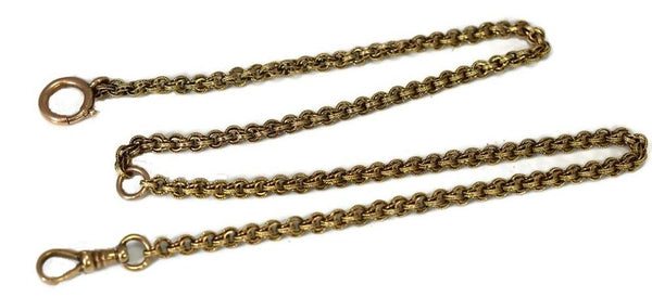 14k Gold Antique Pocket Watch Chain Fancy Link - Premier Estate Gallery 5
